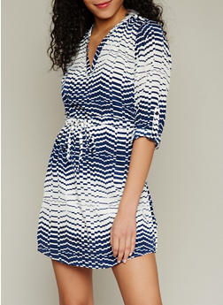 Printed 3/4 Sleeve V Neck Dress - 1090061638027