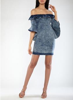Bell Sleeve Off the Shoulder Denim Dress - 1090062121015