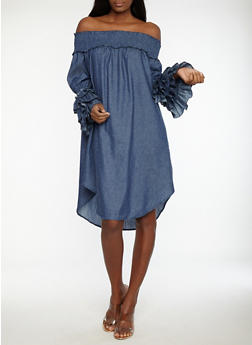 Tiered Sleeve Off the Shoulder Denim Dress - 1090062123690