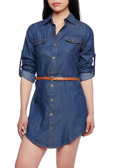 Denim Shirt Dress with Button Down Front and Belt - 1090064461804