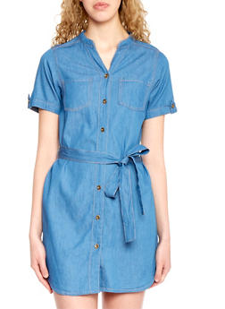 Belted Denim Shirt Dress with Button Front - 1090064468660