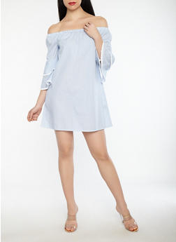 Striped Crochet Trim Off the Shoulder Dress - 1090069390458