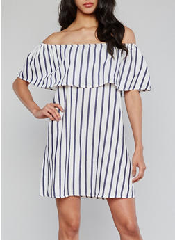 Off the Shoulder Striped Peasant Dress with Ruffle Overlay - 1090069392799