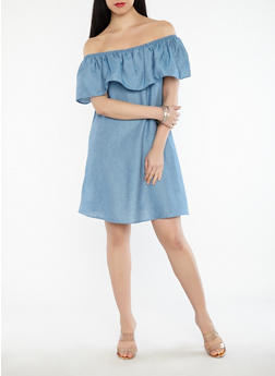 Off the Shoulder Chambray Dress - 1090069393663