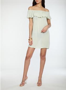 Gauze Knit Off the Shoulder Dress - 1090074286272