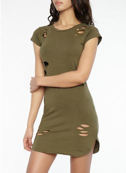 Distressed T Shirt Dress - OLIVE - 1094015050065