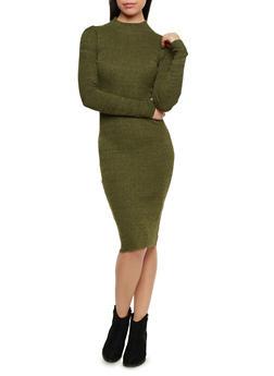 Marled Knit Midi Dress with Mock Neck - OLIVE - 1094015050275
