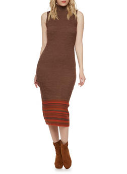 Marled Mock Neck Midi Dress with Striped Hem - BROWN - 1094015050278