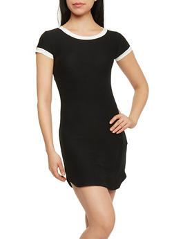 Ringer T Shirt Dress - BLACK/WHITE - 1094015050296