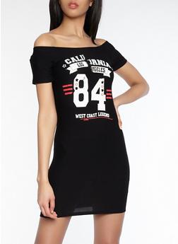 Graphic Off the Shoulder Dress - 1094015050369