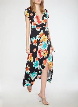 Floral Faux Wrap Maxi Dress - BLACK BEAUTY - 1094015050409