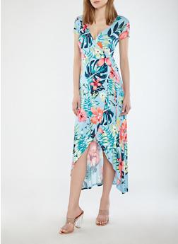 Floral Faux Wrap Maxi Dress - AIR BLUE - 1094015050409