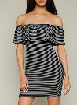 Striped Rib Knit Off The Shoulder Dress with Ruffle Overlay - 1094015050416