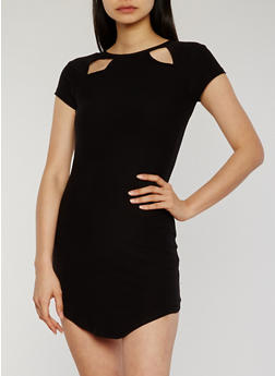 Short Sleeve Double Cutout Shirt Dress - BLACK - 1094015050628