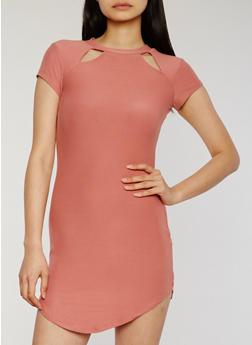 Short Sleeve Double Cutout Shirt Dress - 1094015050628