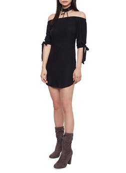 Off The Shoulder T Shirt Dress with Tie Sleeve - BLACK - 1094015050633