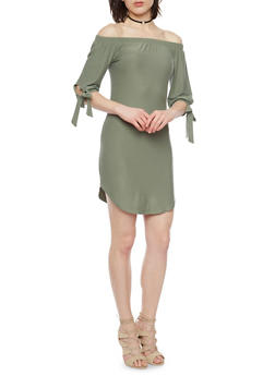 Off The Shoulder T Shirt Dress with Tie Sleeves - 1094015050633