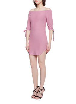 Off The Shoulder T Shirt Dress with Tie Sleeve - 1094015050633