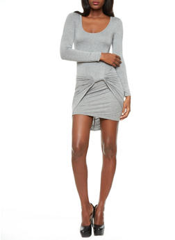 Twisted Knot Mini Dress With Long Sleeves,HEATHER,medium