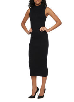 Sleeveless Midi Dress with Mock Neck - BLACK - 1094015051269