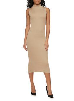 Sleeveless Mockneck Midi Dress - KHAKI - 1094015051269