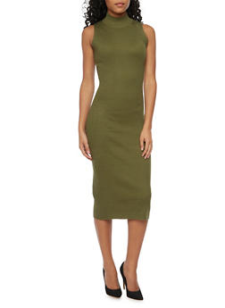 Sleeveless Mockneck Midi Dress - OLIVE - 1094015051269