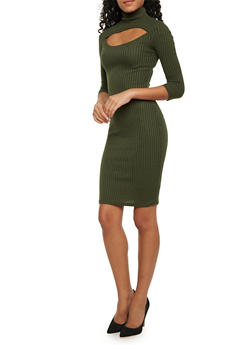 Ribbed Dress with Cutout - 1094038341912