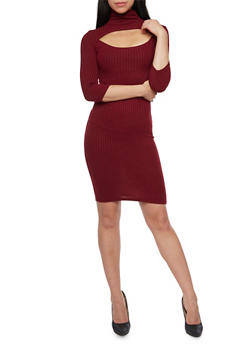 Ribbed Dress with Cutout - BURGUNDY - 1094038341912