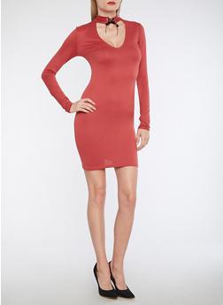 Keyhole Lace Up Neck Bodycon Dress - 1094038342921