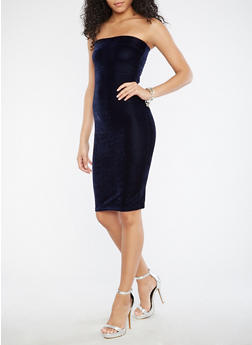 Velvet Tube Dress - NAVY - 1094038342990