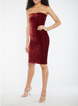 Velvet Tube Dress - BURGUNDY - 1094038342990