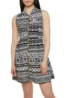 Printed Dress with Zip Front - 1094038346329