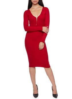 Bodycon Midi Dress with Zip Neck - 1094038346356
