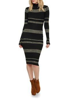 Mock Neck Sweater Dress with Stripes - 1094038346359