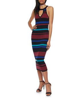 Ribbed Halter Midi Dress in Stripes - 1094038346361