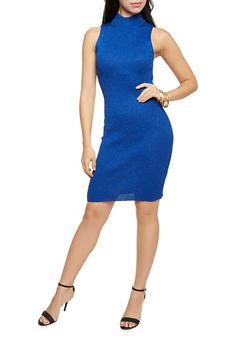 Sleeveless Mock Neck Dress in Metallic Knit - 1094038346367