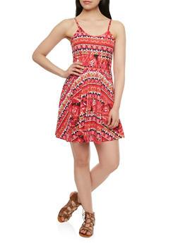 Skater Dress with V-Neck and Aztec Print - 1094038346956