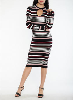 Striped Keyhole Neck Sweater Dress - 1094038347353