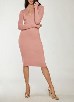 Rib Knit Keyhole Mock Neck Sweater Dress - 1094038347354