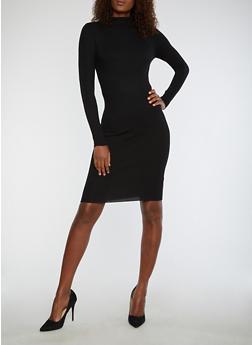 Rib Knit Funnel Neck Sweater Dress - BLACK - 1094038347355