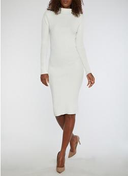Rib Knit Funnel Neck Sweater Dress - IVORY - 1094038347355