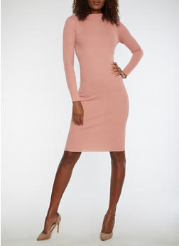 Rib Knit Funnel Neck Sweater Dress - 1094038347355
