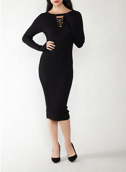 Caged Neck Midi Sweater Dress - 1094038347362