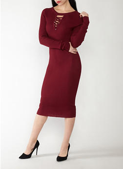 Caged Neck Midi Sweater Dress - 1094038347362