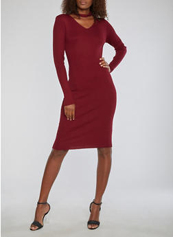 Rib Knit Choker Neck Sweater Dress - 1094038347364