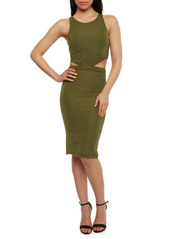 Sleeveless Cut Out Bandage Crop Top and Pencil Skirt - OLIVE - 1094038347784