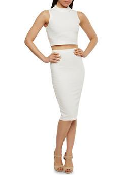 Sleeveless Bandage Crop Top and Pencil Skirt Set - IVORY - 1094038347785