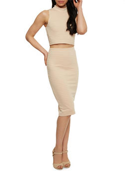 Sleeveless Bandage Crop Top and Pencil Skirt Set - 1094038347785