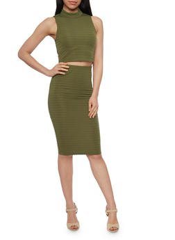 Sleeveless Bandage Crop Top and Pencil Skirt Set - OLIVE - 1094038347785