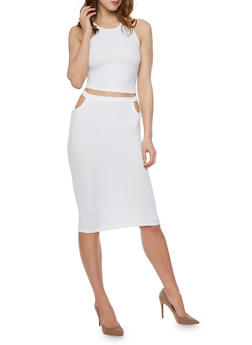 Sleeveless Caged Back Top With Cutout Pencil Skirt Set - WHITE - 1094038347789